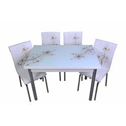 Kristal Sümbül Camlı Yemek Masası Takımı (4 Sandalyeli) - Beyaz