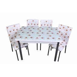 Kristal Yasemin Camlı Yemek Masası Takımı (4 Sandalyeli) - Beyaz