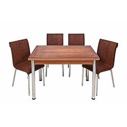 Kristal TK-67/4 Kenar Bantlı Yandan Açılır Masa Takımı (4 Sandalyeli) - Ceviz / Kahverengi