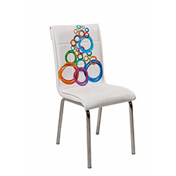 Kristal P-46 Monopetli Olimpiyat Desen Sandalye - Beyaz / Renkli