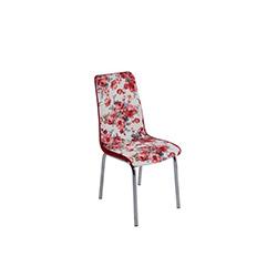 Kristal P-55 Monopetli Güllü Kadife Sandalye - Kırmızı