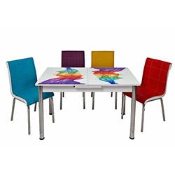 Kristal TK-75/6 Gökkuşağı Ortadan Açılır Cam Masa Takımı (6 Sandalyeli) - Beyaz / Renkli