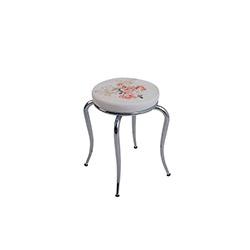 Kristal Gülpembe Desen Ahtapot Tabure - Beyaz / Renkli
