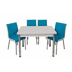 Kristal Turkuaz Monopetli 6 Sandalyeli Yandan Açılır Masa Takımı (70x110) - Beyaz