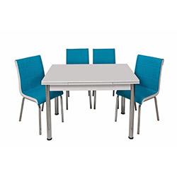 Kristal Turkuaz Monopetli 4 Sandalyeli Yandan Açılır Masa Takımı (70x110) - Beyaz