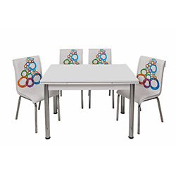 Kristal Olimpiyat Monopetli 4 Sandalyeli Yandan Açılır Masa Takımı (70x110) - Beyaz