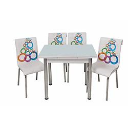 Kristal Olimpiyat Monopetli 4 Sandalyeli Yandan Açılır (60x90) - Beyaz