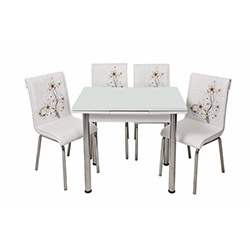 Kristal Kah Sümbül Monopetli 4 Sandalyeli Yandan Açılır Masa Takımı (60x90) - Beyaz