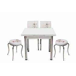 Kristal Kah Sümbül Monopetli 2 Sandalyeli ve 2 Tabureli Yandan Açılır Masa Takımı (60x90) - Beyaz