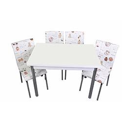 Kristal Kah Fincan Monopetli 6 Sandalyeli Yandan Açılır Masa Takımı (70x110) - Beyaz