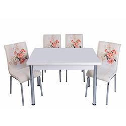 Kristal Gülpembe Monopetli 4 Sandalyeli Yandan Açılır Masa Takımı (70x110) - Beyaz