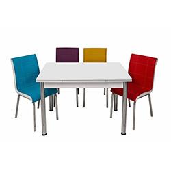 Kristal Gökkuşağı Monopetli 6 Sandalyeli Yandan Açılır Masa Takımı (70x110) - Beyaz