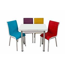 Kristal Gökkuşağı Monopetli 4 Sandalyeli Yandan Açılır Masa Takımı (60x90) - Beyaz