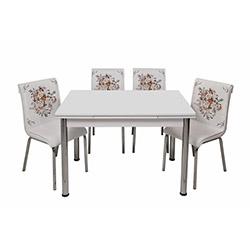 Kristal Çiçek Sepeti Monopetli 6 Sandalyeli Yandan Açılır Masa Takımı (70x110) - Beyaz