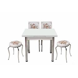 Kristal Çiçek Sepeti Monopetli 2 Sandalyeli 2 Tabure Yandan Açılır Masa Takımı (60x90) - Beyaz