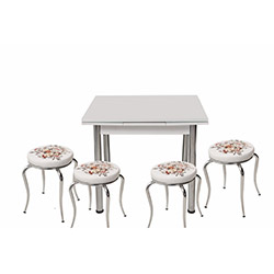 Kristal Çiçek Sepeti 4 Tabure Yandan Açılır Masa Takımı (60x90) - Beyaz