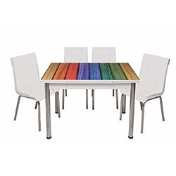 Kristal Monopetli 6 Sandalyeli Dört Renk Ahşap Deseli Yandan Açılır Cam Masa - Beyaz