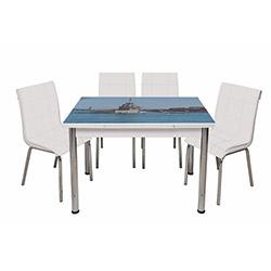 Kristal Monopetli 4 Sandalyeli Kız Kulesi Yandan Açılır Masa - Beyaz