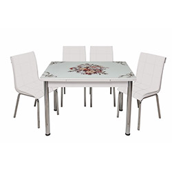 Kristal Monopetli 4 Sandalyeli Çiçek Sepeti Yandan Açılır Cam Masa - Beyaz