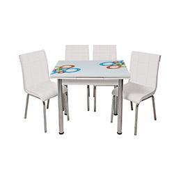 Kristal Monopetli 4 Sandalyeli Yandan Açılır Olimpiyat Cam Masa (60x90) - Beyaz