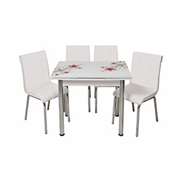 Kristal Monopetli 4 Sandalyeli Yandan Açılır Kırmızı Sümbül Cam Masa (60x90) - Beyaz