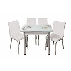 Kristal Monopetli 4 Sandalyeli Yandan Açılır Kah Sümbül Cam Masa (60x90) - Beyaz