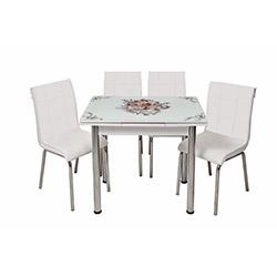 Kristal Monopetli 4 Sandalyeli Yandan Açılır Çiçek Sepeti Masa (60x90) - Beyaz