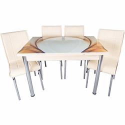 Kristal Yandan Açılır Krom Ayaklı Cam Masa ve 4 Sandalye Takımı - Krem / Karamel