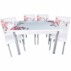 Kristal Yandan Açılır Krom Ayaklı Cam Masa ve 6 Sandalye Takımıı - Beyaz / Kırmızı