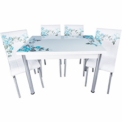 Kristal Yandan Açılır Krom Ayaklı Cam Masa ve 4 Sandalye Takımı - Beyaz / Turkuaz