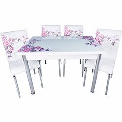 Kristal Yandan Açılır Krom Ayaklı Cam Masa ve 6 Sandalye Takımı - Beyaz / Lila