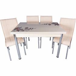 Kristal Yandan Açılır Krom Ayaklı Cam Masa ve 4 Sandalye Takımı - Cappuccino