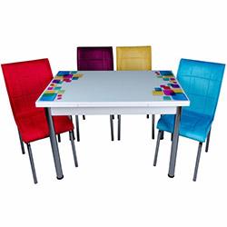 Kristal Kare Desen Yandan Açılır Krom Ayaklı Cam Masa ve 4 Kumaş Sandalye Takımı - Beyaz / Renkli