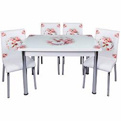 Kristal Bahar Çiçeği Yandan Açılır Cam Masa ve 6 Sandalye Takımı - Beyaz / Pembe