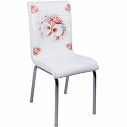 Kristal Bahar Çiçeği Monopetli Deri Sandalye - Beyaz / Renkli