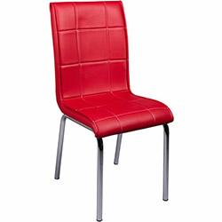Kristal Monopetli Deri Sandalye - Kırmızı