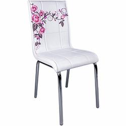 Kristal Lila Gül Dalı Monopetli Deri Sandalye - Beyaz / Lila