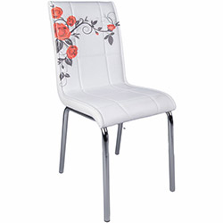 Kristal Kırmızı Gül Dalı Monopetli Deri Sandalye - Beyaz / Kırmızı