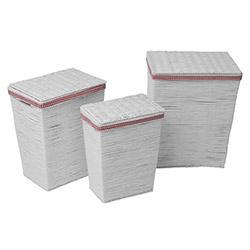 Comfy Home Hasır Kapaklı 3 Parça Çok Amaçlı Sepet Seti - Beyaz