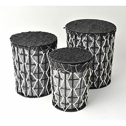 Comfy Home City Hasır 3'lü Set - Siyah Beyaz