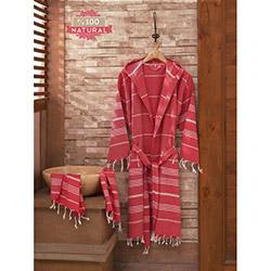 Eponj Home Sultan Peşkir Bornoz Seti (Kırmızı) - L/XL Beden