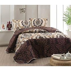 Eponj Home Merasim Çift Kişilik Yatak Örtüsü Takımı - Kahverengi