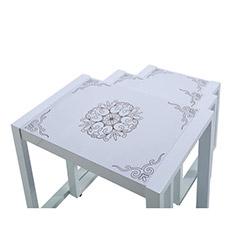 Ezop Bosphorus Osmanlı Motif Desenli 3'lü Zigon Sehpa - Parlak Beyaz