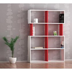 Bien Kitaplık - Kırmızı / Beyaz