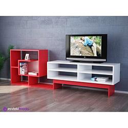 Hazzen Tv Sehpası - Beyaz / Kırmızı