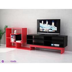 Hazzen Tv Sehpası - Siyah / Kırmızı
