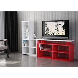 Nostalji Tv Sehpası - Beyaz / Kırmızı