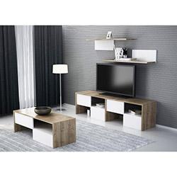 Karmen Tv Ünitesi + Sehpa ve Raf Seti - Ceviz / Beyaz