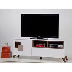 Comfy Home Novia Tv Sehpası - Parlak Beyaz / Açık Ceviz