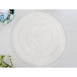 İrya Genny Örgü Dantelli Banyo Paspası (Ekru) - 100x100 cm
